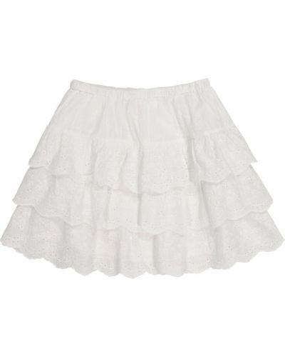 Ватная хлопковая белая юбка мини Bonpoint