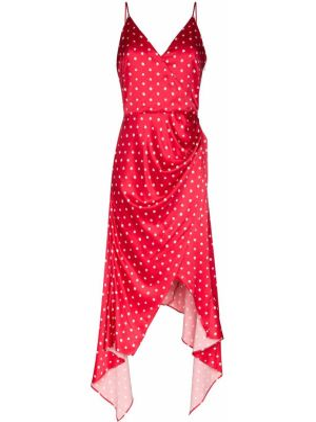 Satynowa sukienka asymetryczna w grochy Haney