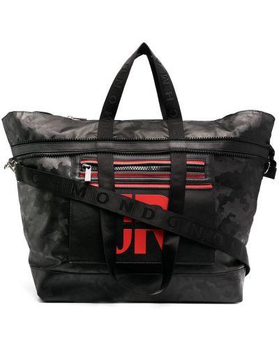 Черная дорожная сумка металлическая на молнии John Richmond
