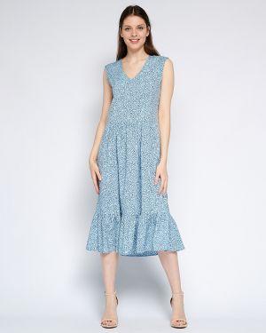 Шифоновое летнее платье с V-образным вырезом на молнии без рукавов Fiato