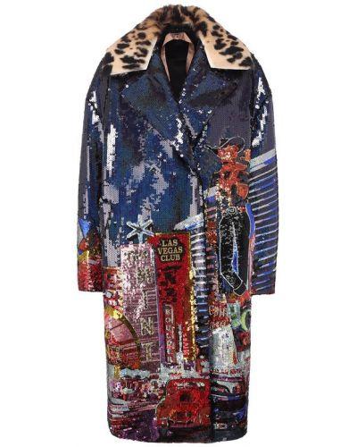 Кожаное пальто шерстяное с пайетками No. 21