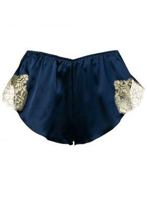 Шелковые синие трусы эластичные с жемчугом Gilda & Pearl