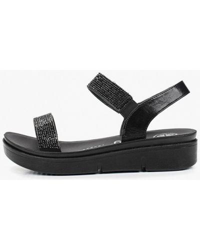 Босоножки на каблуке черные кожаные Betsy