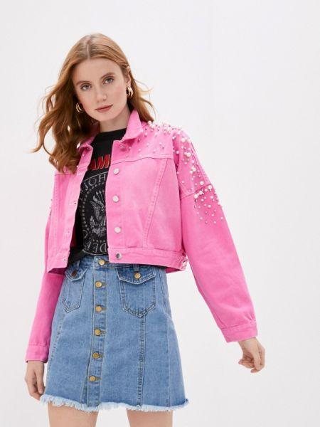 Джинсовая куртка осенняя розовая Bad Queen