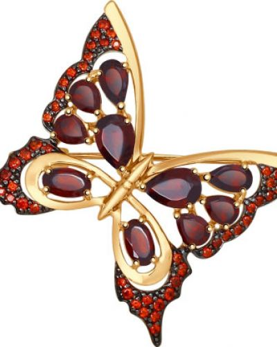 Брошь с камнями бабочка Sokolov