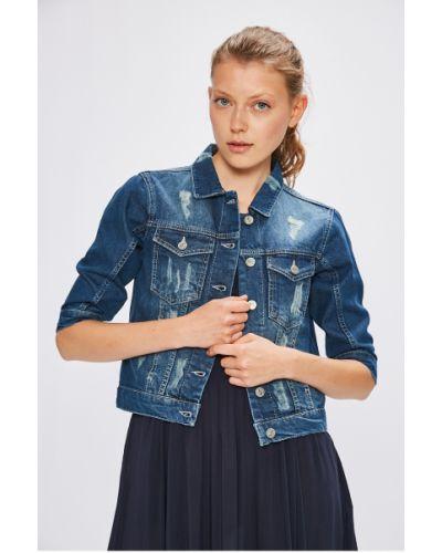Облегченная синяя джинсовая куртка на пуговицах Miss Poem