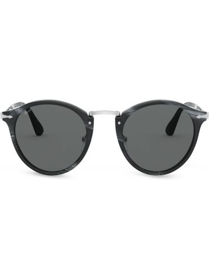 Черные солнцезащитные очки круглые металлические Persol