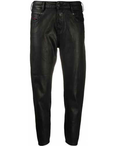 Зауженные черные джинсы-скинни с нашивками Diesel