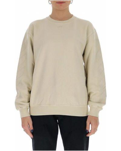 Prążkowana bluza z długimi rękawami bawełniana Off-white