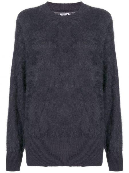 Кашемировый синий пушистый свитер в рубчик Coohem