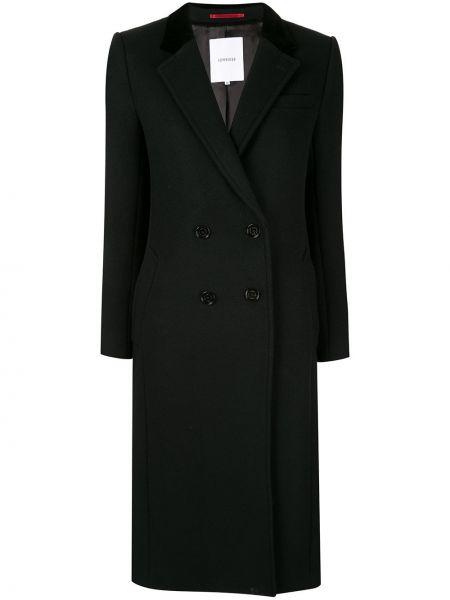 Приталенное шерстяное черное длинное пальто Loveless