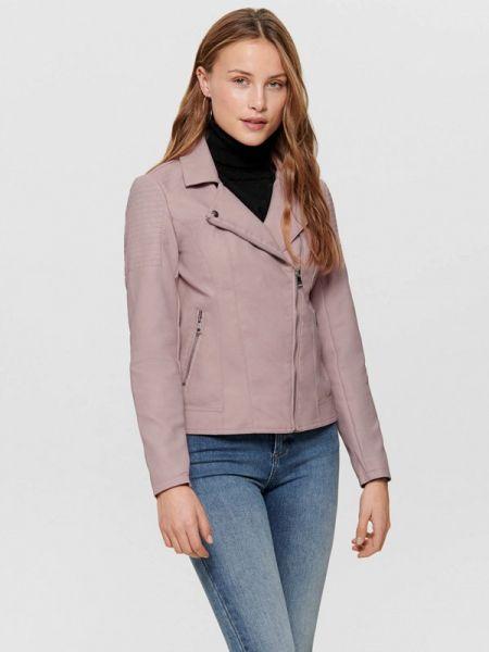 Кожаная куртка весенняя фиолетовый Only