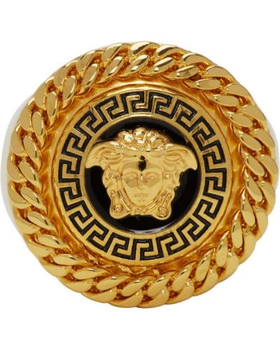 Czarny pierścień metal Versace