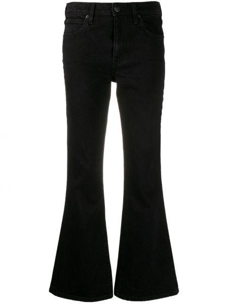 Хлопковые черные расклешенные джинсы на пуговицах с поясом Slvrlake
