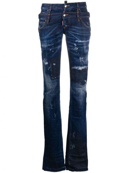 Хлопковые синие джинсы классические стрейч с декоративной отделкой Dsquared2