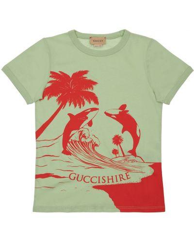 Zielony t-shirt bawełniany Gucci