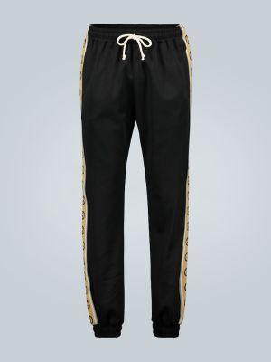 Czarne joggery bawełniane vintage Gucci