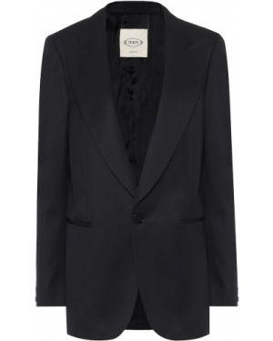 Однобортный черный классический пиджак из габардина с подстежкой Tod's