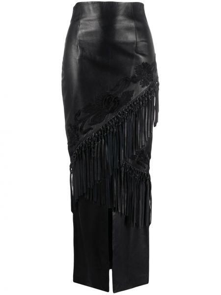 Czarny wyposażone skórzany spódnica z haftem A.n.g.e.l.o. Vintage Cult