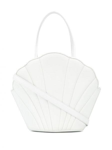 Кожаная белая сумка-тоут круглая с карманами Les Petits Joueurs