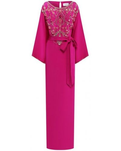 Шелковое розовое вечернее платье с длинными рукавами Marchesa