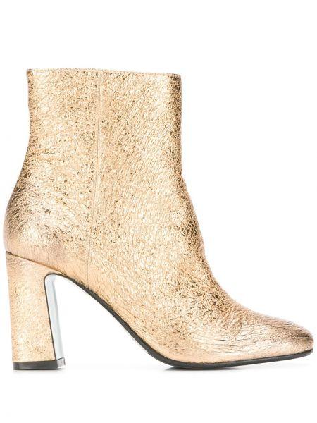Ботинки на каблуке с квадратным носком золотые на молнии Paola D'arcano