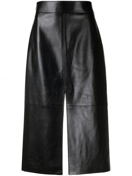Czarna spódnica midi skórzana z wysokim stanem Givenchy