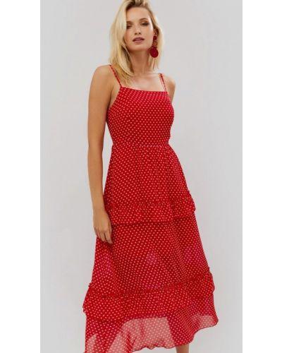 Платье миди весеннее красный Cardo