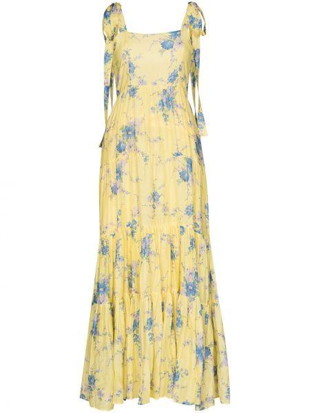 Желтое расклешенное шелковое платье макси с вырезом Loveshackfancy