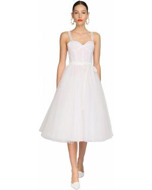 Платье миди из фатина с вышивкой Carolina Herrera