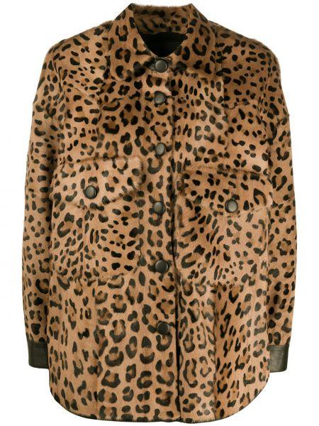 Коричневая кожаная куртка с воротником Simonetta Ravizza