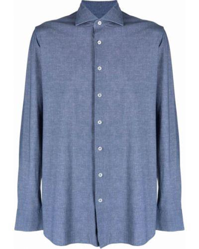 Niebieska koszula slim z długimi rękawami zapinane na guziki Lardini
