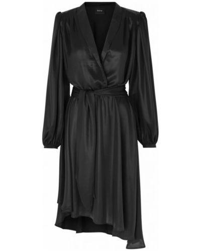 Czarna sukienka midi asymetryczna z dekoltem w serek Ravn