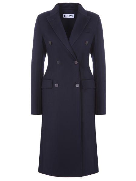 Синее приталенное шерстяное пальто классическое с воротником Loewe