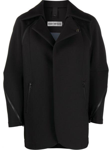 Czarna długa kurtka oversize bawełniana Issey Miyake