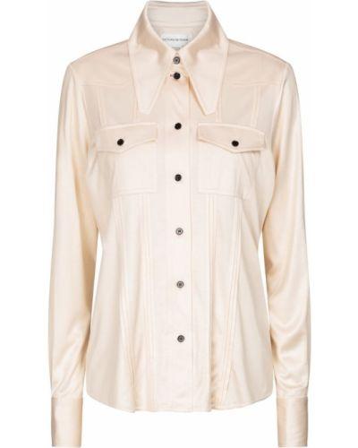Бежевая шелковая рубашка с американской проймой Victoria Beckham