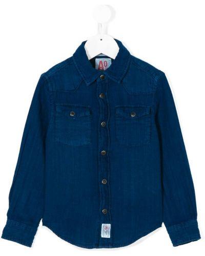 Рубашка синий на пуговицах American Outfitters Kids