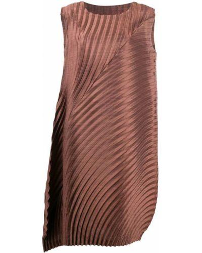 Коричневое плиссированное платье без рукавов с вырезом Issey Miyake