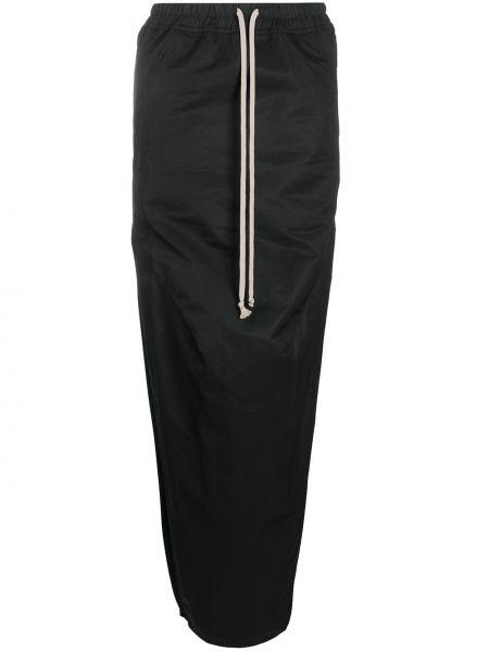 Хлопковая черная юбка с поясом на шнурках Rick Owens Drkshdw