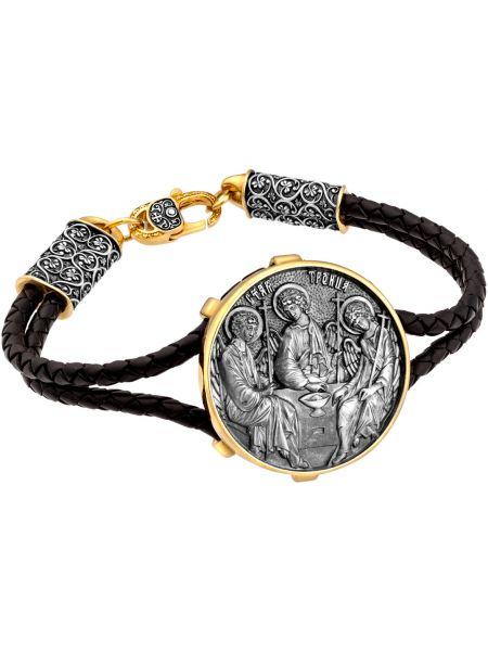 Золотистый черный кожаный браслет позолоченный с декоративной отделкой ювелия