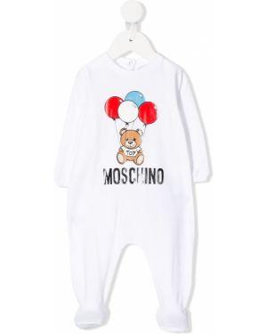 Комбинезон белый длинный Moschino Kids