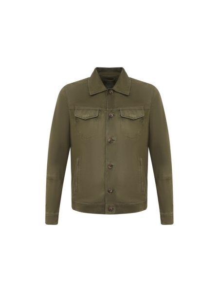 Замшевая кожаная куртка - зеленая Andrea Campagna