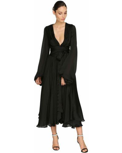 Шифоновое платье макси - черное Alexandre Vauthier