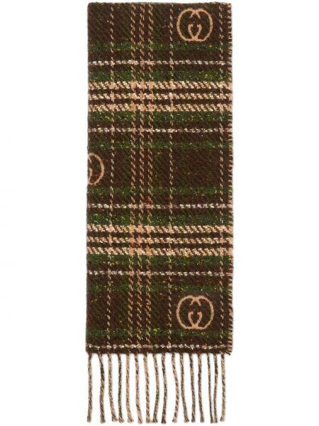 Brązowy wełniany szalik przycięte pled Gucci