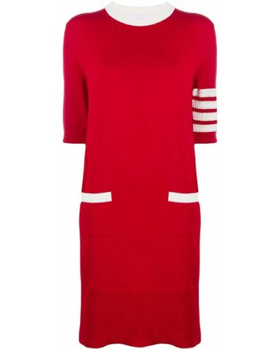 Prążkowana sukienka mini krótki rękaw bawełniana Thom Browne
