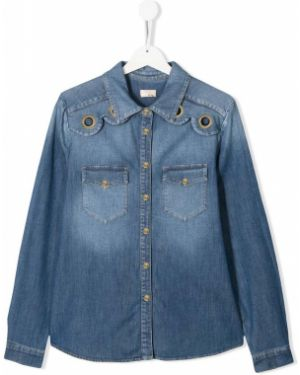 Джинсовая рубашка синий на пуговицах Elisabetta Franchi La Mia Bambina