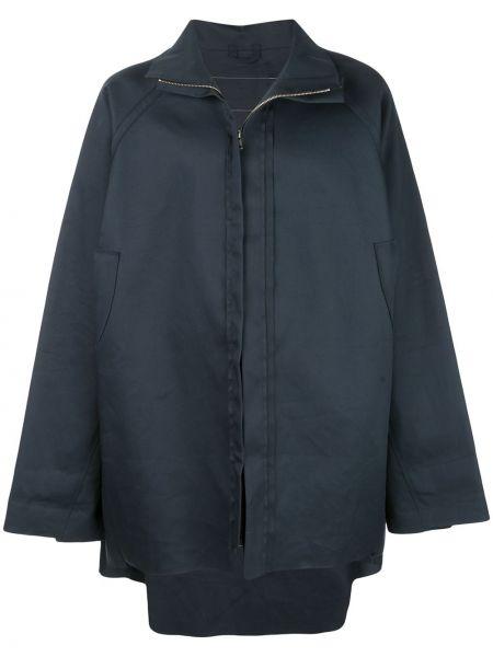 Хлопковое с рукавами синее длинное пальто на молнии Camiel Fortgens