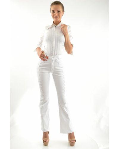 Летние брюки расклешенные белые Lafei-nier