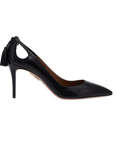 Туфли-лодочки с бантом для офиса кожаные Aquazzura