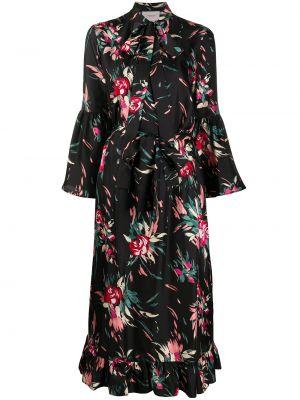 Шелковое с рукавами черное платье-рубашка La Doublej